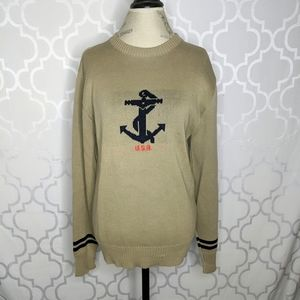 Vtg Neiman Marcus Taupe AKnit Sweater Taupe Anchor